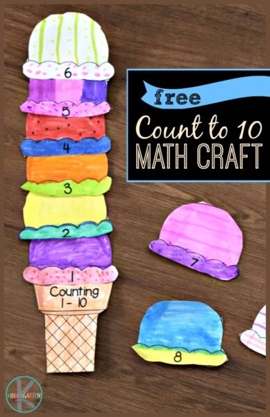FREE Count to 10 Math Craft - this free printable summer craft is such a fun way for preschool, kindergarten, and first grade kids to practice counting to 10, count to 20, count to 100, and more. #kindergarten #summercraft #mathprintable