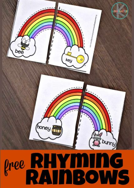 This super cute spring activity for kindergarten, preschool, pre-k, and first grade students is a fun way for kids to practice rhyming. In this rhyming activity for kindergarten children will mat the two parts of the rainbow puzzle by saying the words out loud and listening for the two words that rhyme. Simply download pdf file with rhyming practice to get a hands-on rhyming activity that is way more fun than just using rhyming worksheets.