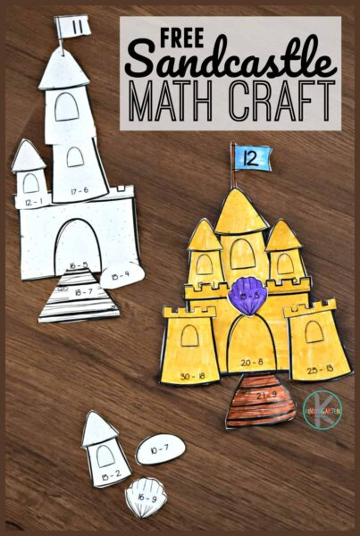 Pratice summer math while making a cute, Free Printable Sandcastle Subtraction Craft. This beach activity is fun for kindergarten & first graders.