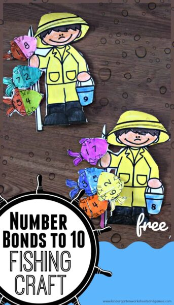 FREE Number Bonds to 10 Fishing Craft - Kids will have fun practicing formingnumber bonds to 10 with this super cute, FREE printable Fishing Craft! This printable math craft is perfect for kindergarten and grade 1 students to sneak in some summer learning to avoid summer learning loss throughout June, July, and August.