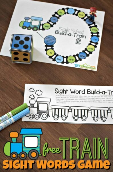 FREE Train Sight Words Game - this free printable game is a fun way for preschool, kindergarten, and first grade kids to practice sight words. There are 3 options all in color or black and white! #sightwords #kindergarten
