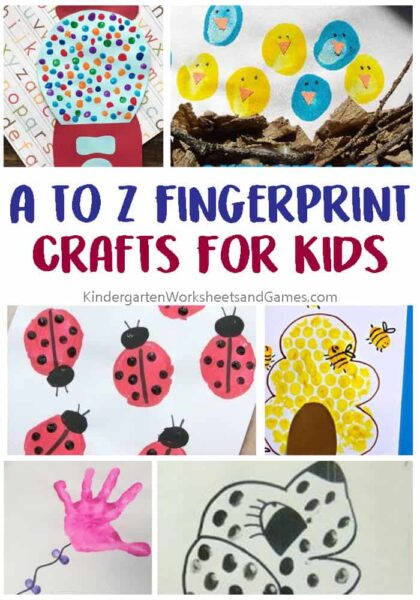 A-Z Fingerprint Crafts for Kids - so many cute alphabet crafts using fingerprint art perfect for toddler, preschoolers, kindergarten, and first grade for letter of the week. #alphabet #fingerprintart #preschool #kindergarten