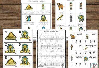 Practice math and literacy skills with these ancient Egypt printable pack