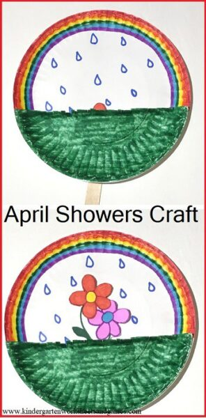 April Showers Bring May Flowers Craft perfect for spring! This paper plate craft lets the flowers grow! Perfect for toddler, preschool, kindergarten and first grade as a fun  spring kids activities! #spring #craftsforkids #kindergarten