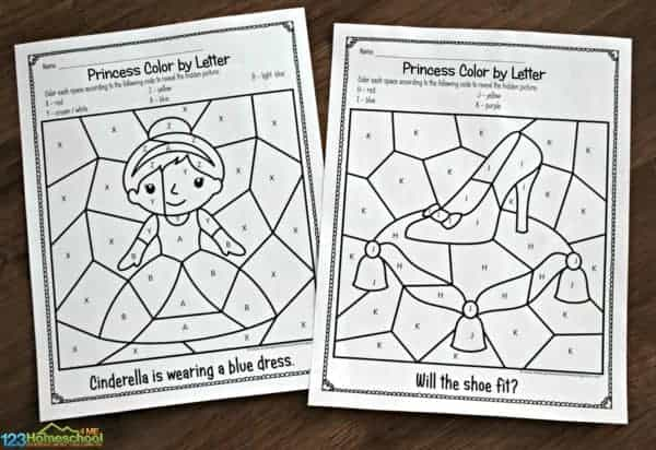 These free printable Color by Letter worksheets will help preschool, pre k, and kindergarten age kids work on letter recognition and strengthening fine motor skills while revealing mystery picttures from the Disney Cinderella movie.