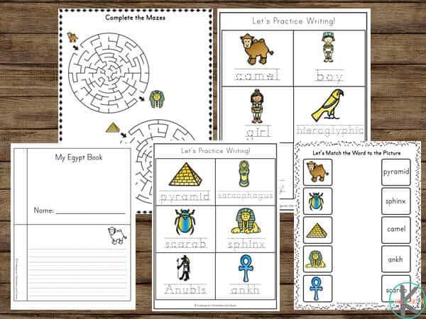 Fun Egypt Worksheets for Preschool and Kindergarten age kids