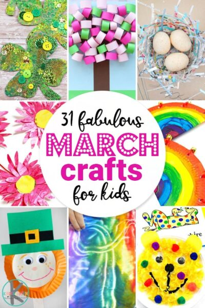31 March Crafts for Kids - lots of clever, creative monthly crafts for spring filled with st patricks day, rainbows, flowers, and more! #craftsforkids #marchcrafts #kindergarten