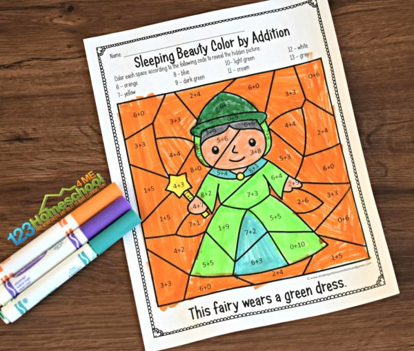 Sleeping-Beauty-Math-Coloring-Worksheets