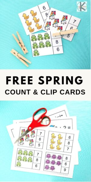 FREE Spring Addition Clip Cards - such a fun, hands on math activity to practice addition with kindergarten age kids