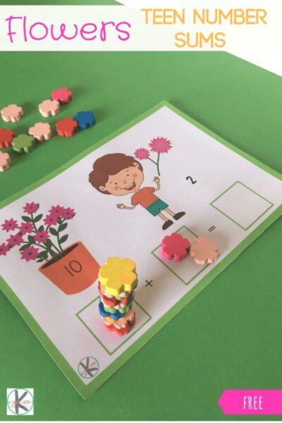 FREE Flower Teen Number Sums - this free printable math mat is such a fun way for kids to practice addition within 20 this spring. #kindergarten #kindergartenmath #teennumber