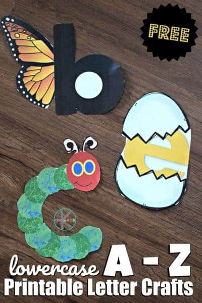 FREE Printable Letter Crafts from A to Z - These super cute free printable alphabet craft ideas for kids are are no prep! Simply print abc printables, color, cut and paste together #alphabet #alphabetcrafts #preschool #prek #kindergarten