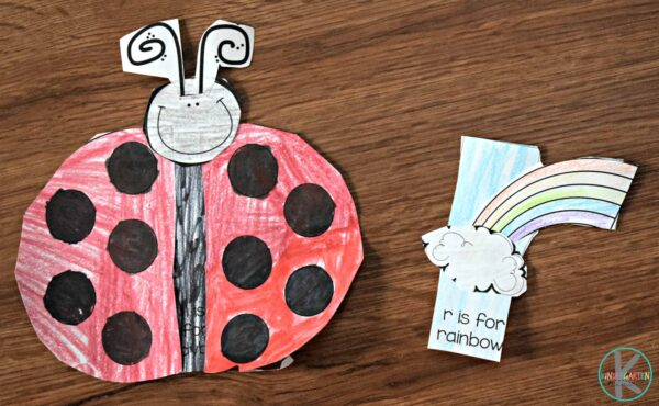 letter l craft and letter r craft - l is for ladybug and r is for rainbow
