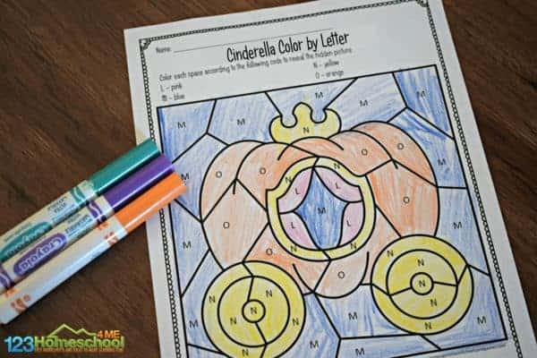 color by letter to reveal Cinderella's pumpkin carriage in this alphabet printable for preschool, pre k, kindergarten, and toddler age students
