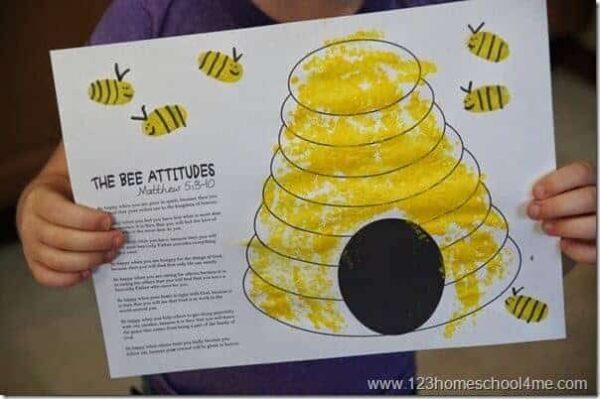 Super cute bee hive fingerprint art beatitudes craft for Sunday School