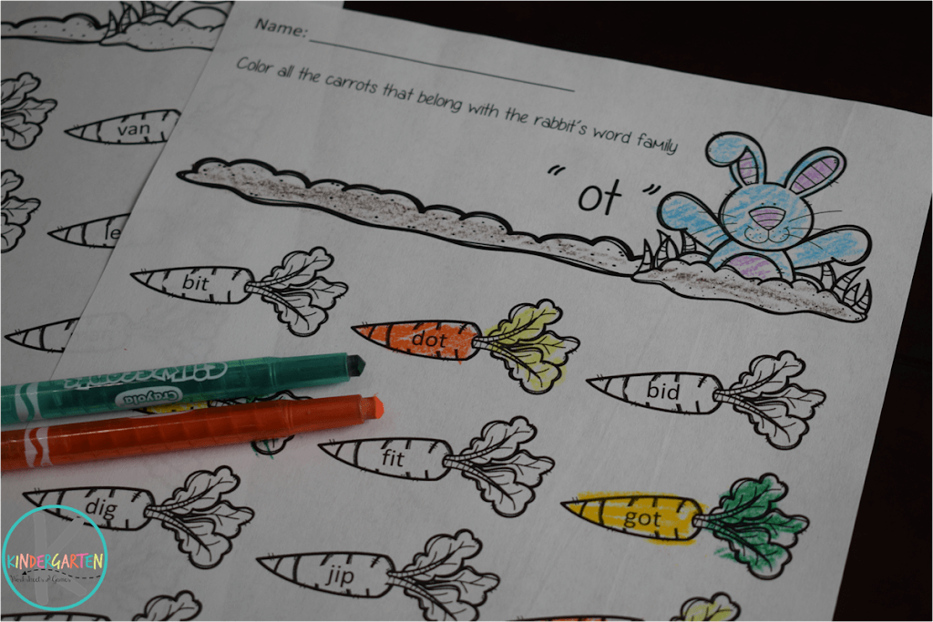 Easter Sight Word Coloring Pages to help bunny find the carrots to eat - perfect practice for kindergarten sight words