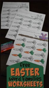 color the carrots that belong with the Easter bunny as kindergarnters practice identifying word families