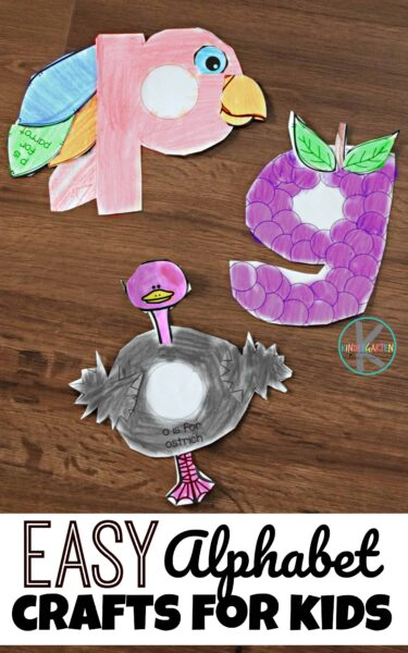 EASY Alphabet Crafts fro Kids - just print free printable,, color, cut, and paste! Such a fun way to work on letter recognition with lowercase letters with preschool, toddler, and kindergarten