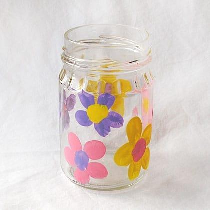 fingerprint flower vase craft for mothers day