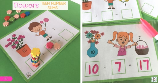 Flower addition math activity for prek and kinders