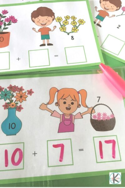 LOW PREP flower addition math mats for kindergarten
