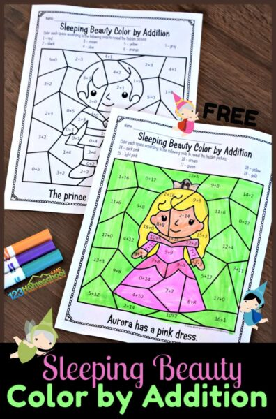 Make practicing addition within 10 FUN with these super cute color by addition printables. Theseaddition color by number have a fun Disney Sleeping beauty theme to keep pre-k, kindergarten, and first grade students engaged and eager to practice math! You will love that thesecolor by addition worksheet are no prep making them a QUICK math activity for kindergartners! Simply download pdf file withkindergarten addition worksheet and you are ready to play and learn!