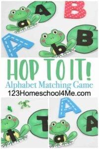 frog alphabet matching game printable