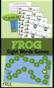 frog printable sight word games