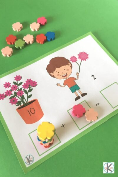 Kids will have fun using flower manipulatives in this hands on addition activity for preschool and kindergarten age kids