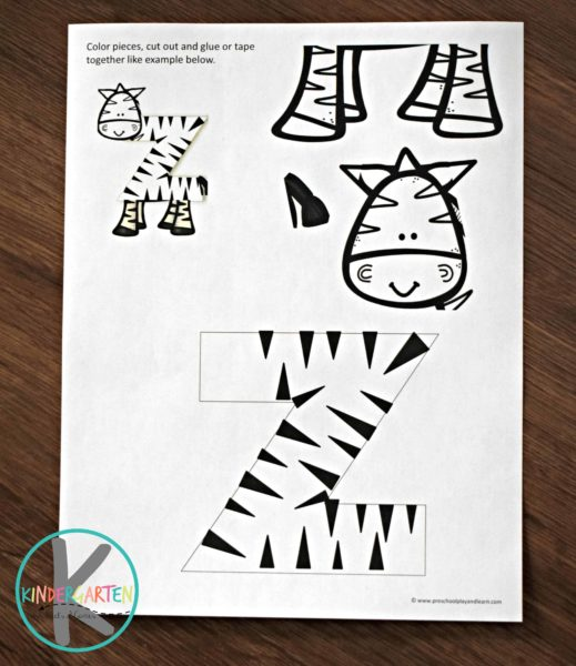 free printable Letter z craft of a zebra; perfect kindergarten crafts
