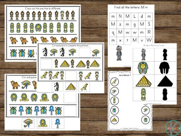 Kindergarten worksheets to help kids learn numbers, addition, subtraction, alphabet, syllables, and more with free printable Ancient Egypt pages