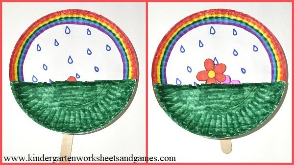 super cute spring rainbow, flower and rain kindergarten craft