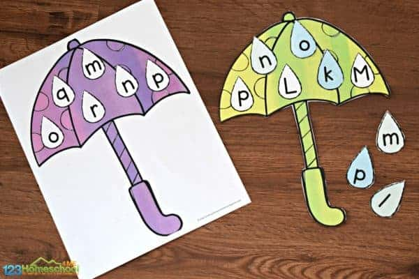 purple and green alphabet letter matching activity for preschool, pre k, and kindergarten age kids for spring.