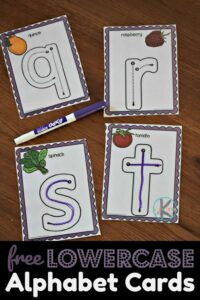 Free printable lowercase alphabet cards to practice writing letters A-Z