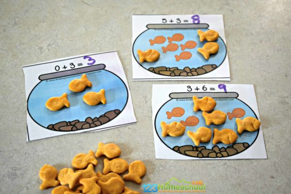 Help kids think math is fun by practicing addition with goldfish crackers.