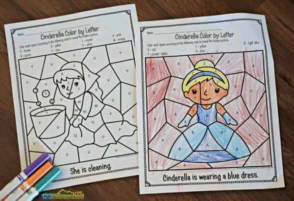 color by code with these Cinderella princess coloring pages to work on letter recogition with fun, no prep alphabet printables