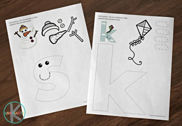Printable crafts for kids including letter s crafts and letter k crafts