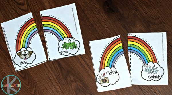 super cute printable rainbow worksheets puzzles to work on rhyming words with prek and kindergarten