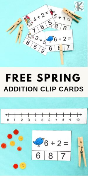 FREE Spring Clip Cards for Kindergarten Math - kids will have fun practicing counting and addition with these spring themed math games #spring #kindergarten #kindergartenmath