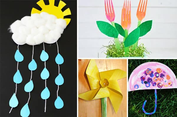 fun to make spring craft ideas like flowers, rain, umbrella, and more
