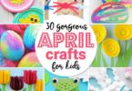 Beautiful spring crafts for kids including flowers, frogs, eggs, bunnies, chicks, and more super cute crafts for preschoolers
