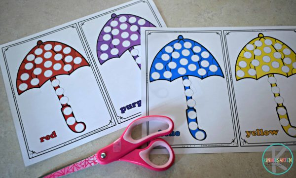 This umbrella printable activity is great for working on color recognition.