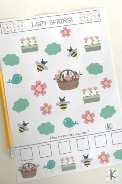 I Spy Games with a spring twist for preschool and kindergarten age kids