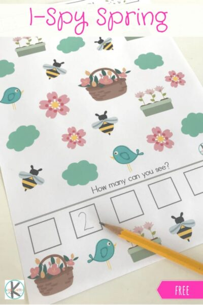 FREE I Spy Spring - this free printable I Spy Game is a fun way for preschool and kindergarten age kids to practice visual discrimination and counting with a fun spring theme #ispy #kindergarten #kindergartengames