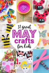 31 Epic May Crafts for Kids - kids will love all these craft ideas for kids to celebrate sping including ladybugs, dragonflies, flowers, butterflies, mothers day, and more! #craftsforkids #springcrafts #kindergarten
