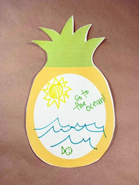 Pineapple drawing page for kids