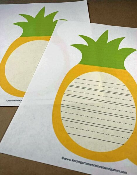 free printable pineapple writing pages for kindergartners