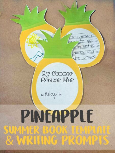 FREE Pineapple Writing Activity - kids will have fun practicing writing with this summer creative writing prompts they can make into a book #kindergarten #creativewritingprompts #writingprompts