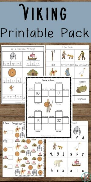FREE Viking Worksheets- kids will have fun learning about vikings while practicing math and literacy skills. Perfect worksheets for kids in preschool and kindergarten. #preschool #kindergarten #vikings