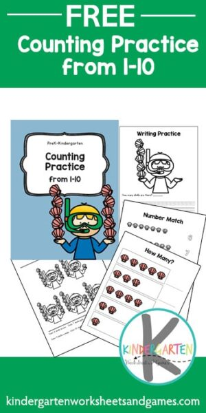 FREE Snorkle Counting to 10 - these kindergarten math worksheets are a fun way for kids to practicing counting and writing numbers 1-10. #kindergarten #mathworksheets #counting