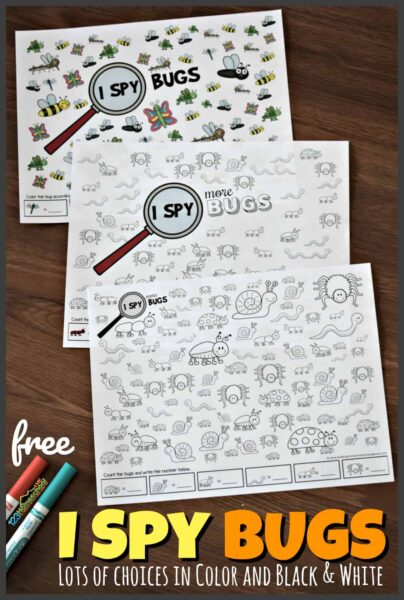 FREE I Spy Bugs - lots of choices of i spy worksheets in color and black and white for toddler, preschool, prek, kindergarten, and first grade kids. Perfect for summer, spring, kids activities, and visual discrimination #ispy #preschool #kindergarten